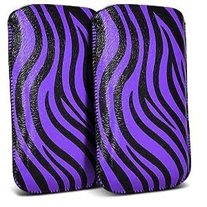 Samsung Galaxy Ace 3 S7270 Protección Premium de Zebra PU tracción Piel Tab Slip Cord En caso de la cubierta de liberación rápida (Twin Pack) Púrpura y Negro por Spyrox Pouch Pocket Skin