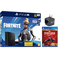 2020 Newest PlayStation 4 Pro 1TB + Fortnite Deluxe Bundle, Marvel spider-man game of the year Edition, Euro Edition w/HESVAP US Adapter