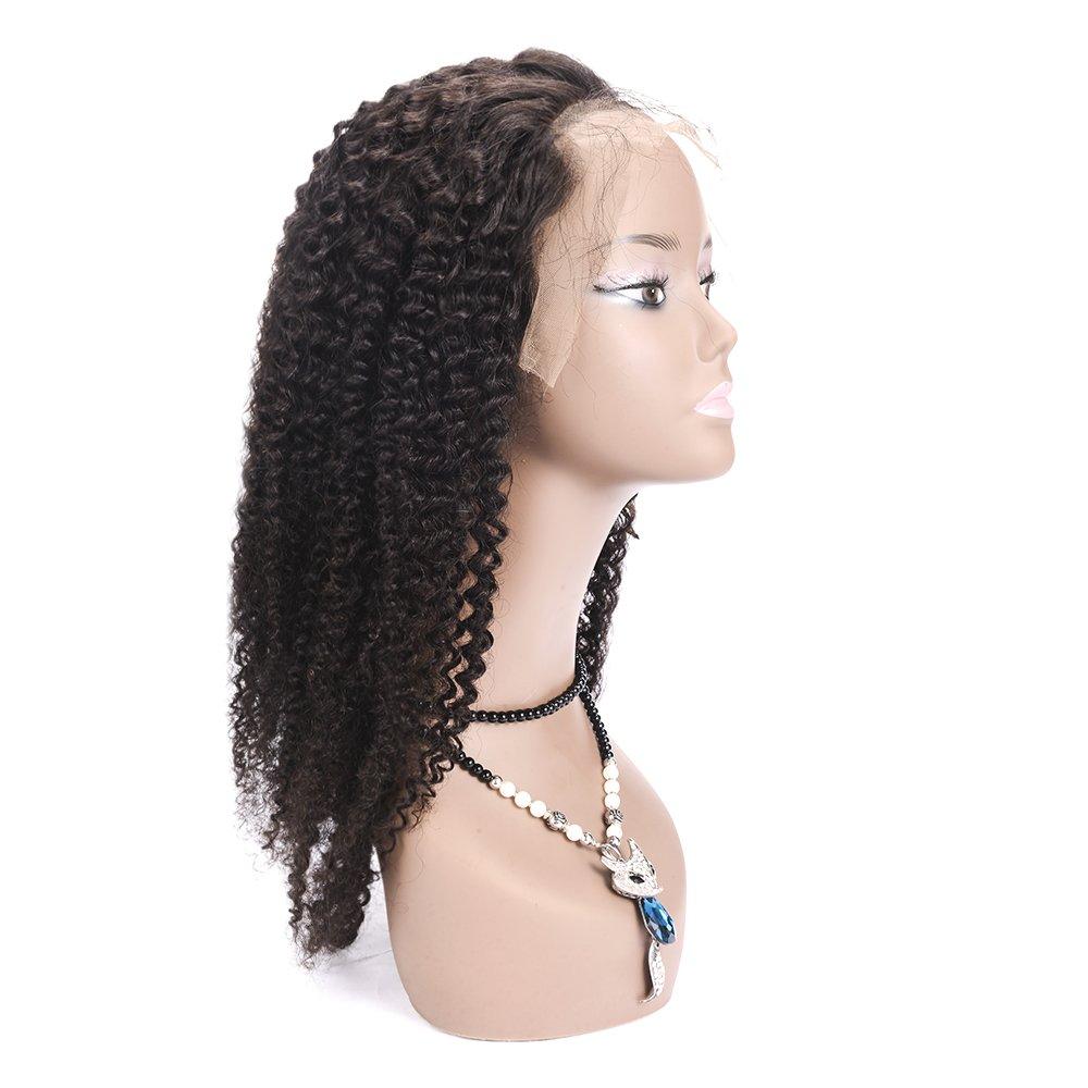 Amazon.com : 100% Hand-Tied Glueless Full Lace Human Hair Wigs for Black Women Kinky Curly Short Real Brazilian Remy Virgin Hair Peluca 130% Density 125g 12 ...