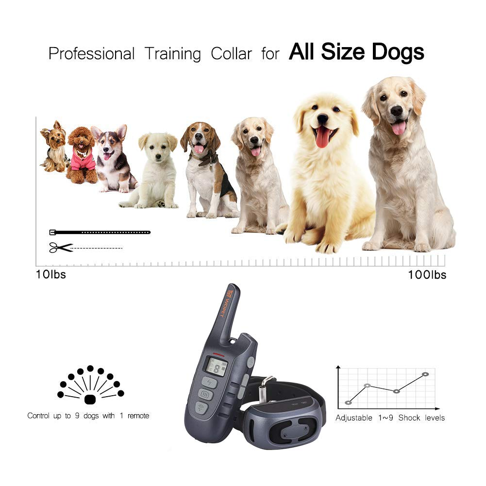 WOpet Dog Training Collar, 1500ft Remote Dog Shock Collar, 100% Waterproof and Rechargeable with Electric/Shock/Vibra/Beep Control Collar for Small Medium Large Dogs by WOpet (Image #4)