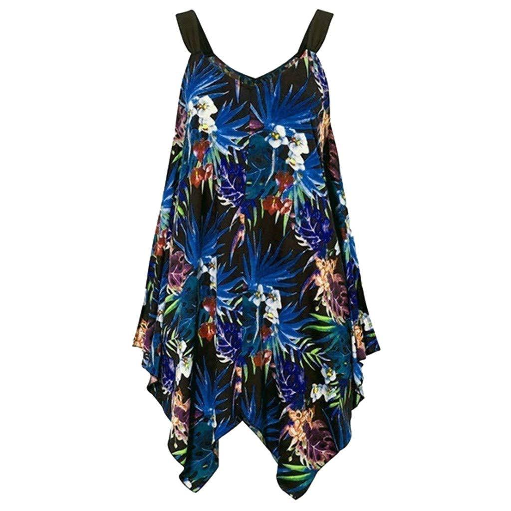 Plus Size Summer Dresses for Women Vintage Floral Print Sleeveless Loose Irregular Hem Casual Mini Vest Dress (Blue, S)