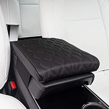 CUHAWUDBA Car Center Console Cover Armrest Pad for Tesla Model 3 Black