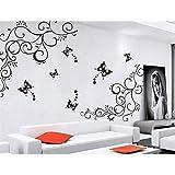 2 Définit Mur étiquette Mural Décalque 1 Vigne+3 Papillon Art Décor HG-0431