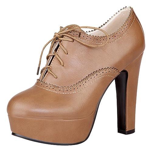 c11abcae5 Jamron Mujer Elegante Plataforma Alta Tacón de Bloque Brogue Oxfords Dedo  del Pie Cerrado Cordón Tacón Zapatillas Talla Grande  Amazon.es  Zapatos y  ...