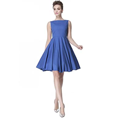 f69984a3fa83ca Heroecol Vintage 1950s 50s Dress Hepburn Style Retro Rockabiily Cocktail S  BL Blue