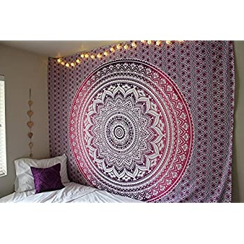 """""""New launched"""" Popular Handicrafts tapestry wall hangings Indian Mandala Wall Art, Hippie Wall Hanging, Bohemian Bedspread Purple"""