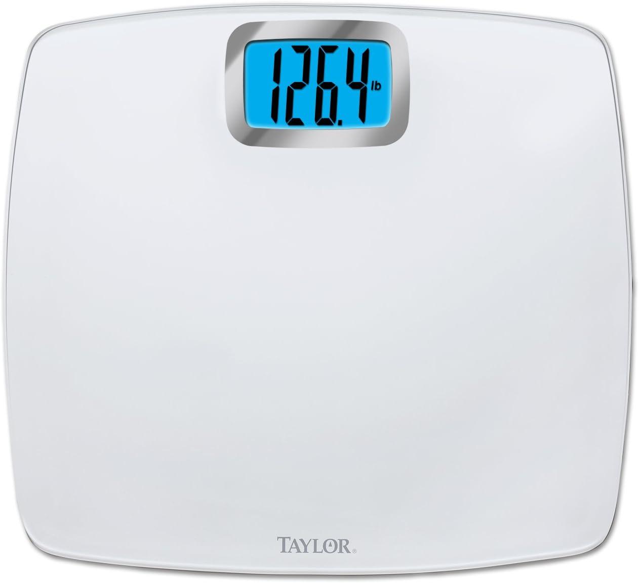 Amazon Com Taylor Digital 440lb Capacity Bathroom Scale Pure White Glass Health Personal Care