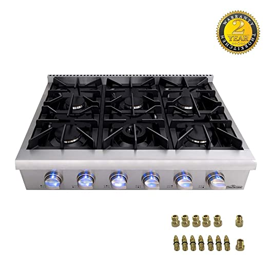 Amazon.com: Thorkitchen Pro-Style Gas Rangetop con 4/6 ...