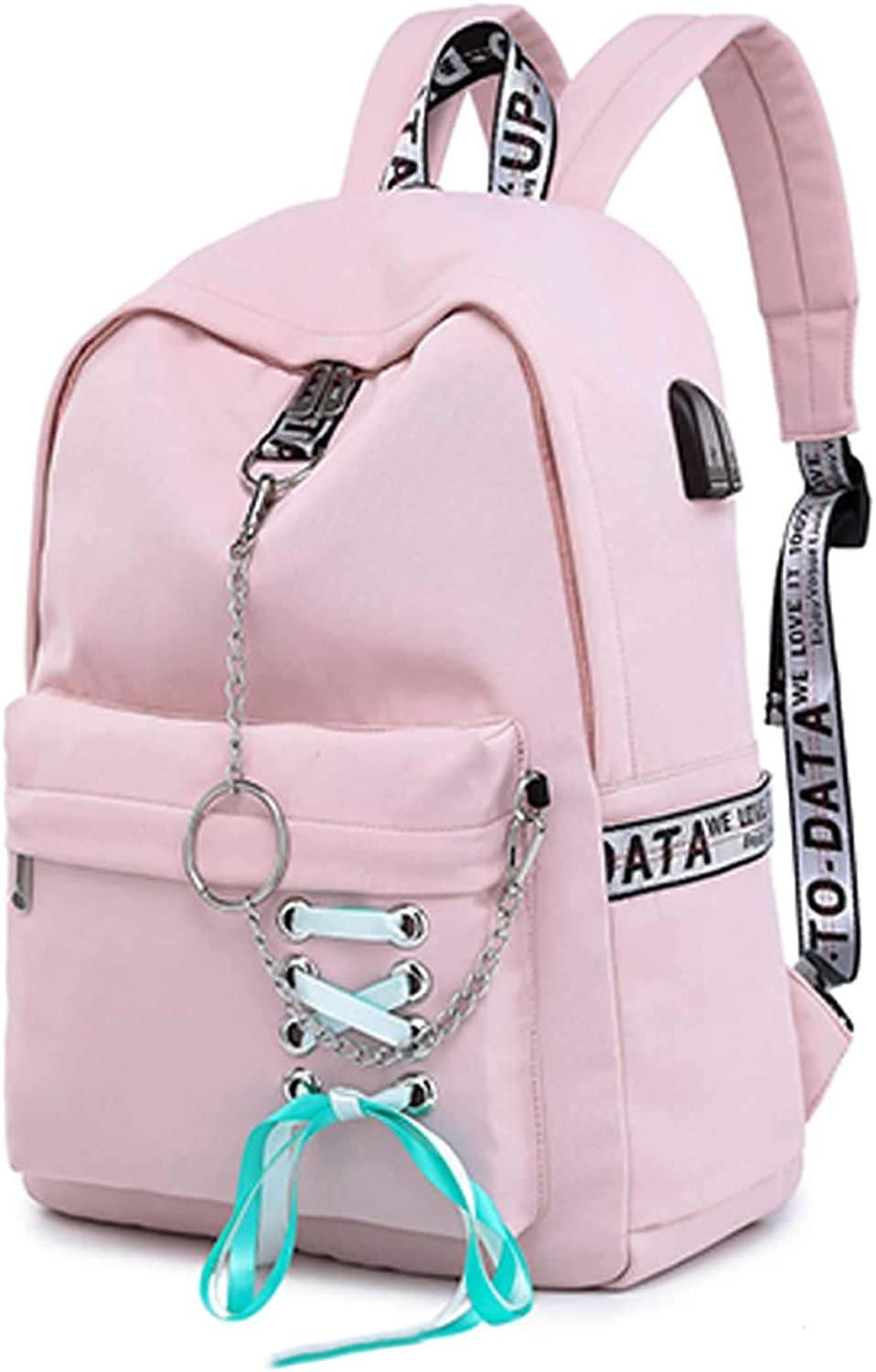 Teen Girl School Backpack USB Charging Port 16 Inch Laptop Bag Travel Daypack