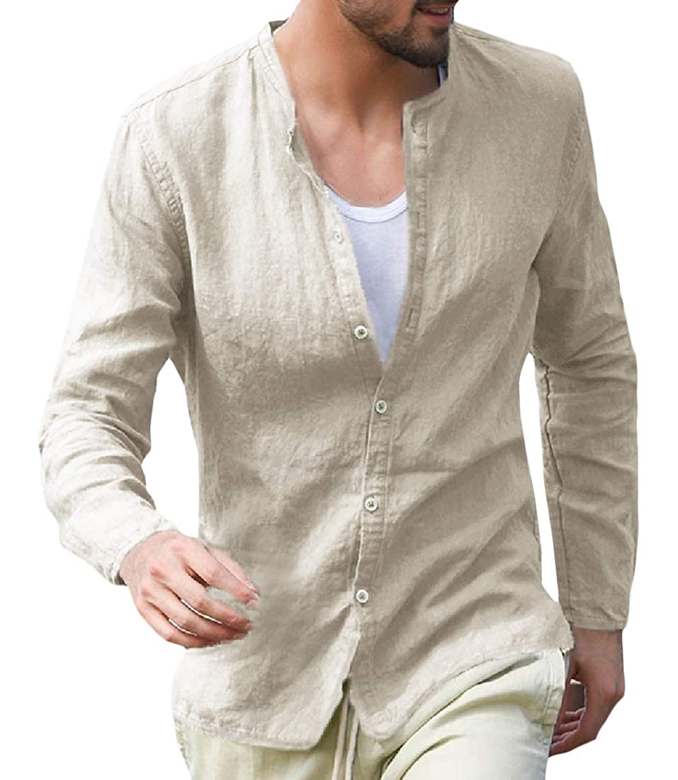 Macondoo Men Spring Long Sleeve Linen Collarless Button Front Pure Colour Shirts