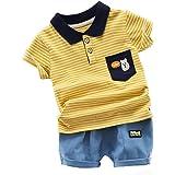Conjunto de roupas infantis para bebês e meninos de verão com listras e manga curta + shorts