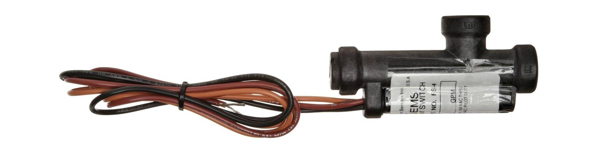 Gems Sensors FS-4 Series Ryton Flow Switch, Elbow, Piston Type, SPST Switch, Normally Open, 0.1 gpm Flow Setting, 9/16''-18 UNF-2B