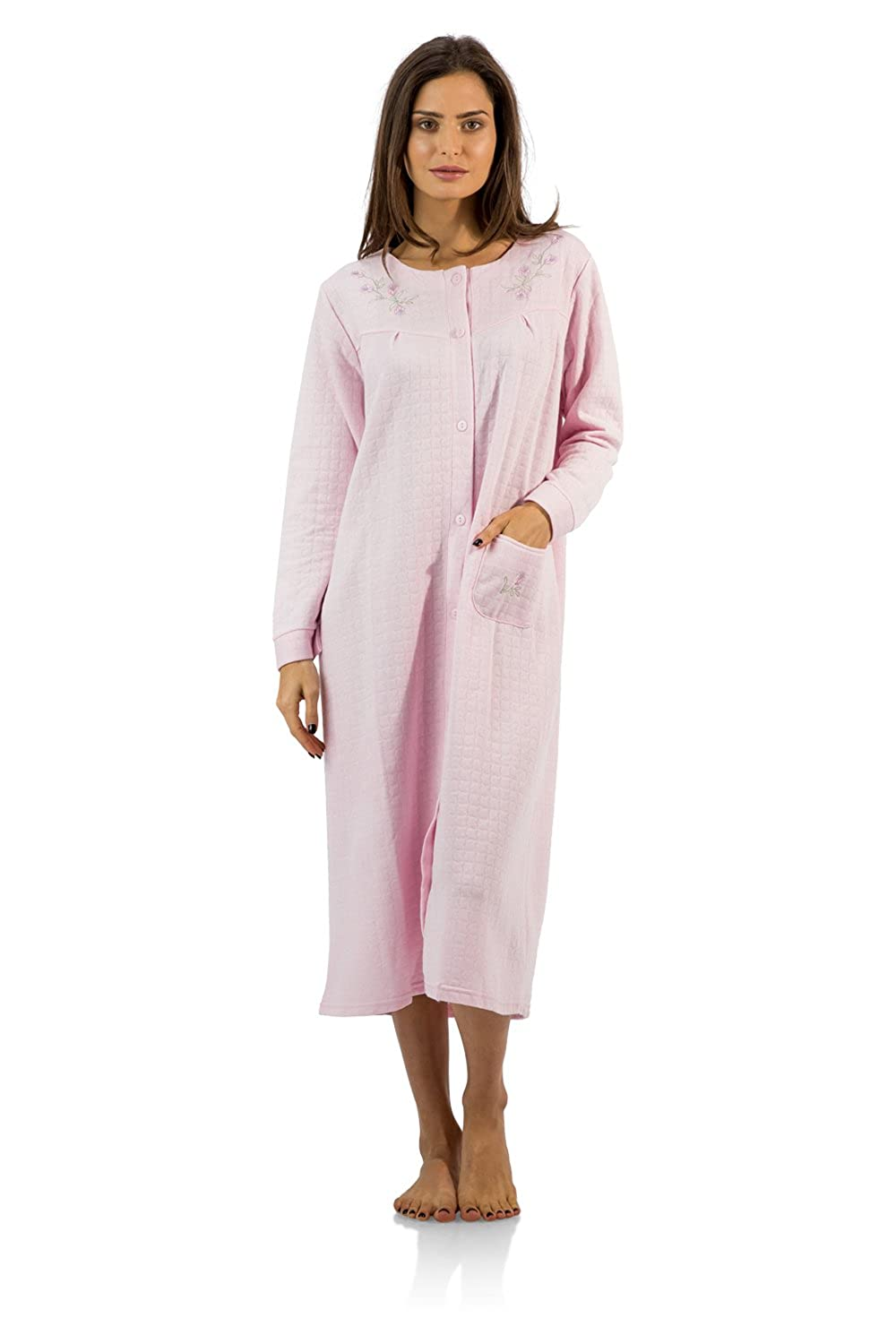 Casual Nights Women's Long Quilted Robe House Dress Long Sleeve Lounger