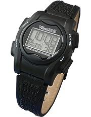 VibraLITE 12 MINI - Black Leather Band - Vibrating Alarm Reminder Watch - TabTimer TTW-VM-LBK