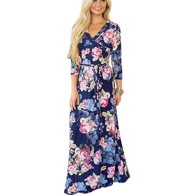 15db72d837 Kinlene Mujer Vestidos Largos De Verano Casual Vintage Bohemio Florales  Estampados Hippies Elegantes Manga Cuello Redondo Vestidos Largos   Amazon.es  Ropa y ...