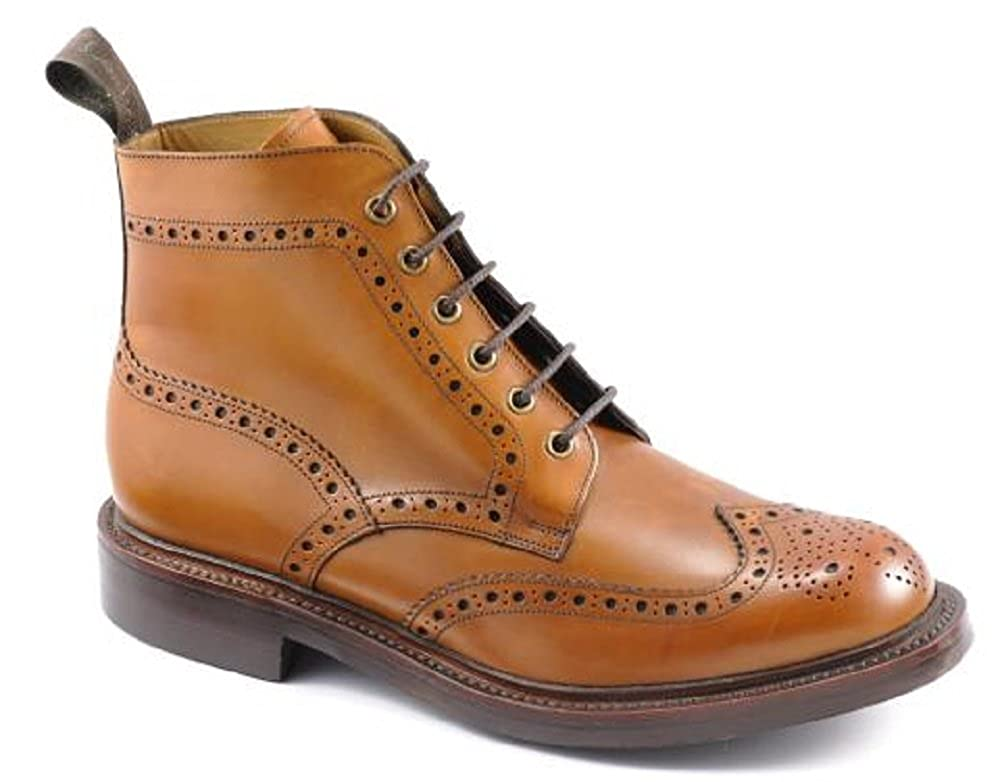 72d120b1f25ce Bedale Men s Lace Up Derby Brogue Boots in Burnished Tan Calf Leather (8  UK)  Amazon.co.uk  Shoes   Bags