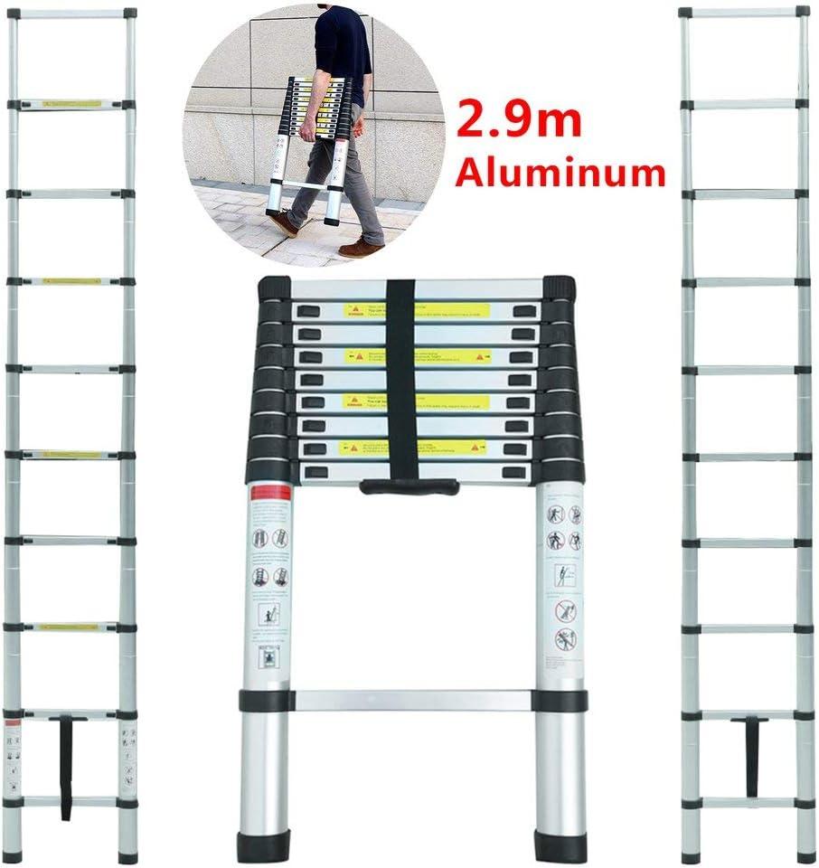 /Échelle Extensible en Aluminium avec Barre Stabilisateur Pliable Droite Multi-Fonction /Échelle Charge Maximale: 150 kg Andrehugo /Échelle T/élescopique Pliante 2.9M