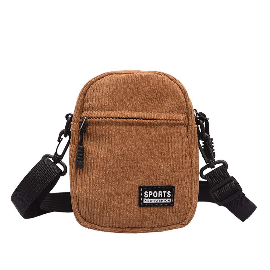 Jauntly Women's Canvas Wild Fashion Messenger Bag Shoulder Bag Travel Bag Belt Bag Party Shopping (Khaki)