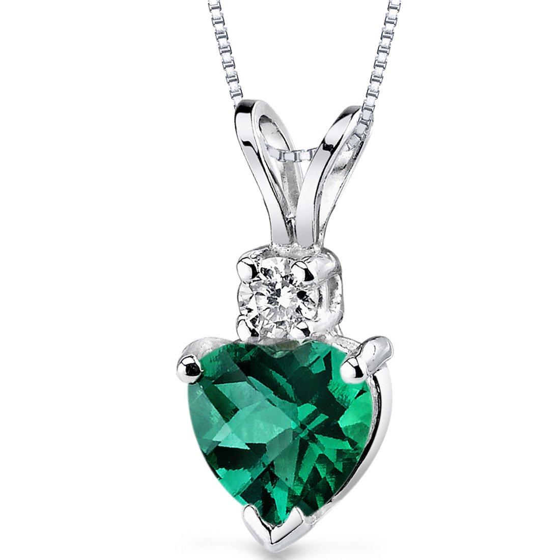 14 Karat White Gold Heart Shape 0.75 Carats Created Emerald Diamond Pendant