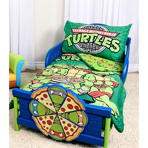 Classic Toddler Bedding (Teenage Mutant Ninja Turtles Brand New Green Toddler Multicolored Microfiber Comforter Reversible Classic TMNT Designed Standard Size Fitted Sheet 3 Pcs Bedding Set)