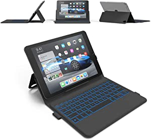 iPad Pro 12.9 Keyboard Case (2018) - Thin & Light - Backlit 7 Color - Infinite Hinge - Auto Sleep/Wake - iPad Pro 12.9 3rd Generation Case with Keyboard - A1876 - A1895 - A2014 - A1983 (Black)