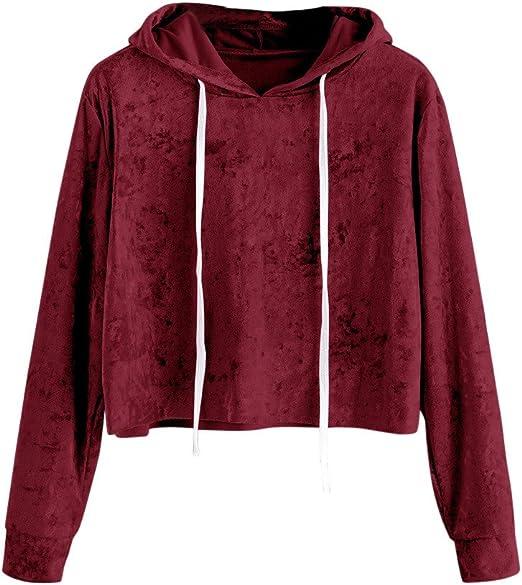 LILICAT Sudadera con Capucha de Terciopelo para Mujer, Camisas Blusas Corto de Otoño Manga Larga Elegantes (L, Vino Rojo): Amazon.es: Hogar