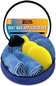 Better Boat Microfiber Wax Applicator Pad Foam Applicator Pads Sponges Cloth and Handle Waxing Set Detailing Polishing for Boats Cars and More