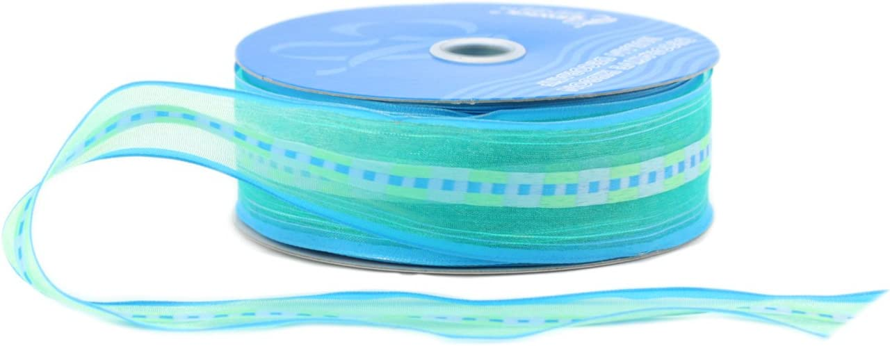Turquoise Berwick Wired Edge Chamblee Sheer Craft Ribbon 1-1//2-Inch Wide by 50-Yard Spool