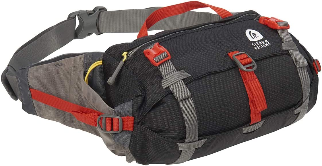 Sierra Designs Flex Lumbar Waist Pack, Hiking Waist Bag with Water Bottle Holder, Adjustable Volume, and More