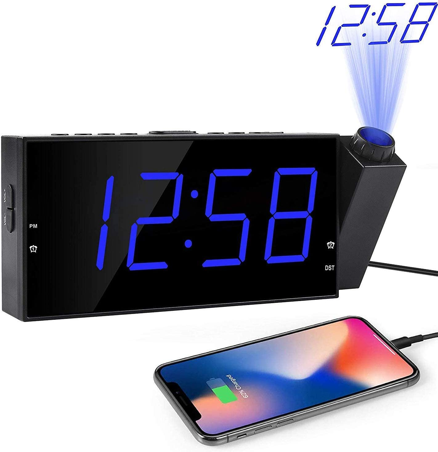 "OnLyee Projection Alarm Clock, Ceiling Wall Clock for Bedroom, 7"" LED Digital Desk/Shelf Clock with Dimmer, USB Charging, AC Powered and Battery Backup for Kitchen, Kids (Blue-Projection Clock)"