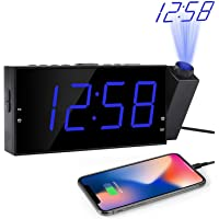 OnLyee Projection Digital Alarm Clock | Loud Ceiling Clock for Bedroom | Alarm Large 7€ LED Display & Dimmer | USB Charging and Battery | Backup for Heavy Sleepers Kids, Elders