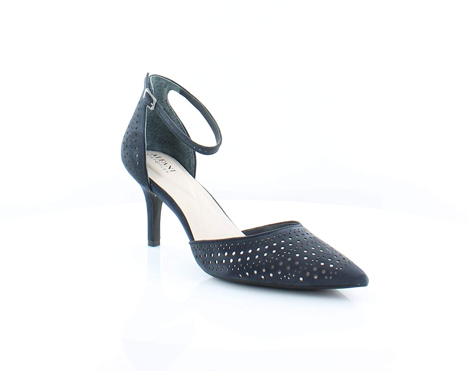 Ink   Pewter Alfani Womens Joyy Perforated Ankle Strap D'Orsay Heels