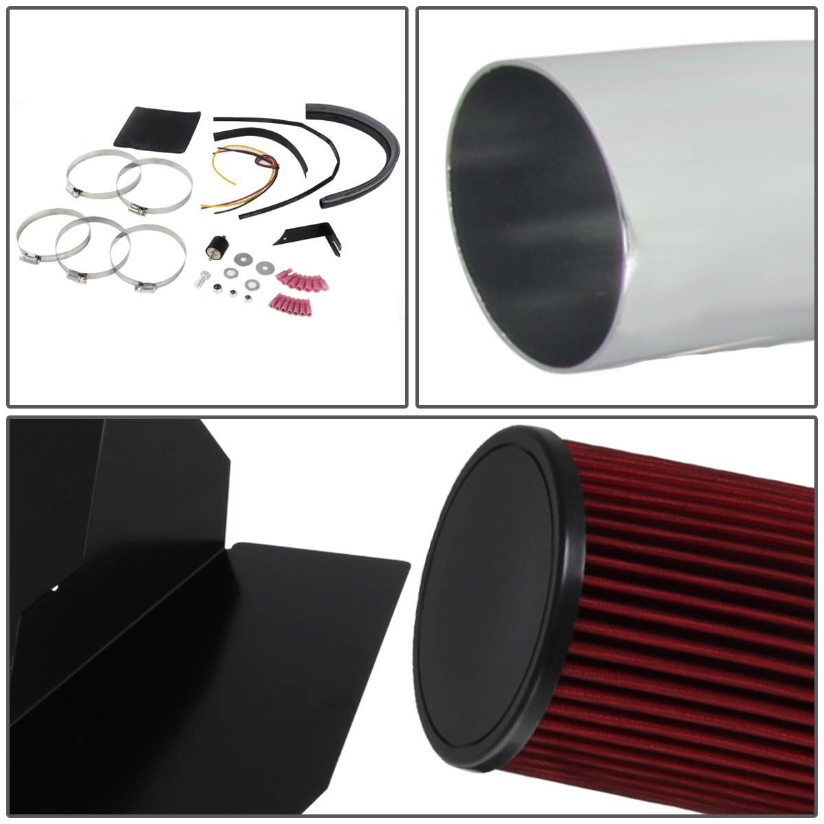 For Chevy//GMC C//K Series GMT400 5.0L//5.7L V8 Silver Cold Air Intake Pipe+Heat Shield+Red Filter