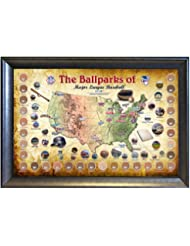 Steiner Sports MLB Baseball Parks Map 20x32 Framed Collage wi...