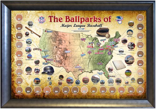 Amazon.com: Steiner Sports MLB Baseball Parks Map 20x32 Framed ...