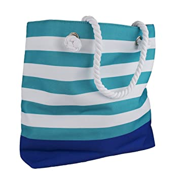 da9b4e27a8b6 Amazon.com : Clinique White & Teal Stripped Beach Tote Bag : Beauty