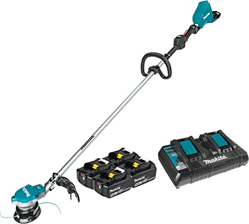 Makita XRU15PT1 Lithium-Ion Brushless Cordless 5.0Ah 18V X2 36V LXT String Trimmer Kit with 4 Batteries, Teal