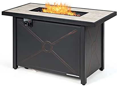 Giantex Gas Fire Pit Table w/Ceramic Tabletop, 42 Inch 60,000 BTU Rectangular Propane Fire Pit Table, Outdoor Auto-Ignition Propane Heater w/Table Cover, Waterproof Cover, Lava Rock