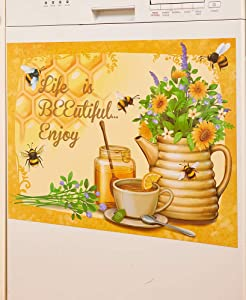Life is Beeutiful Honey Bee Dishwasher Magnet - Rustic Kitchen Decor