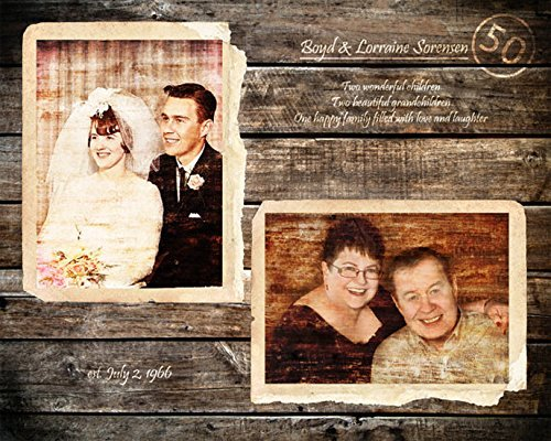 Parents 50th Anniversary Gift Wood Print 16x20 inches