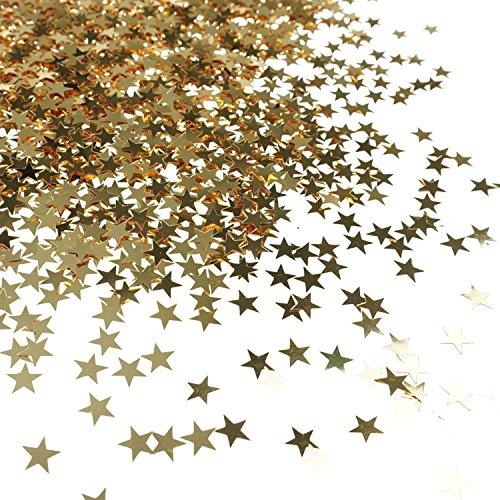 Bilipala Table Confetti, Star Confetti, Party Supplies, 0.4 Inch, 1 Ounce, (Gold Star Glitter)