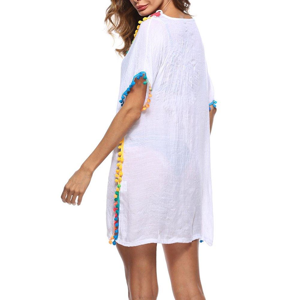 iBaste Bikini Blusas Mujer Verano Cover-up Perspectiva Crochet Hollow Vestidos Bolas de Colores Beach a Prueba de Sol: Amazon.es: Ropa y accesorios