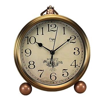 Amazon.com: Justup Reloj de mesa dorado, retro, vintage ...