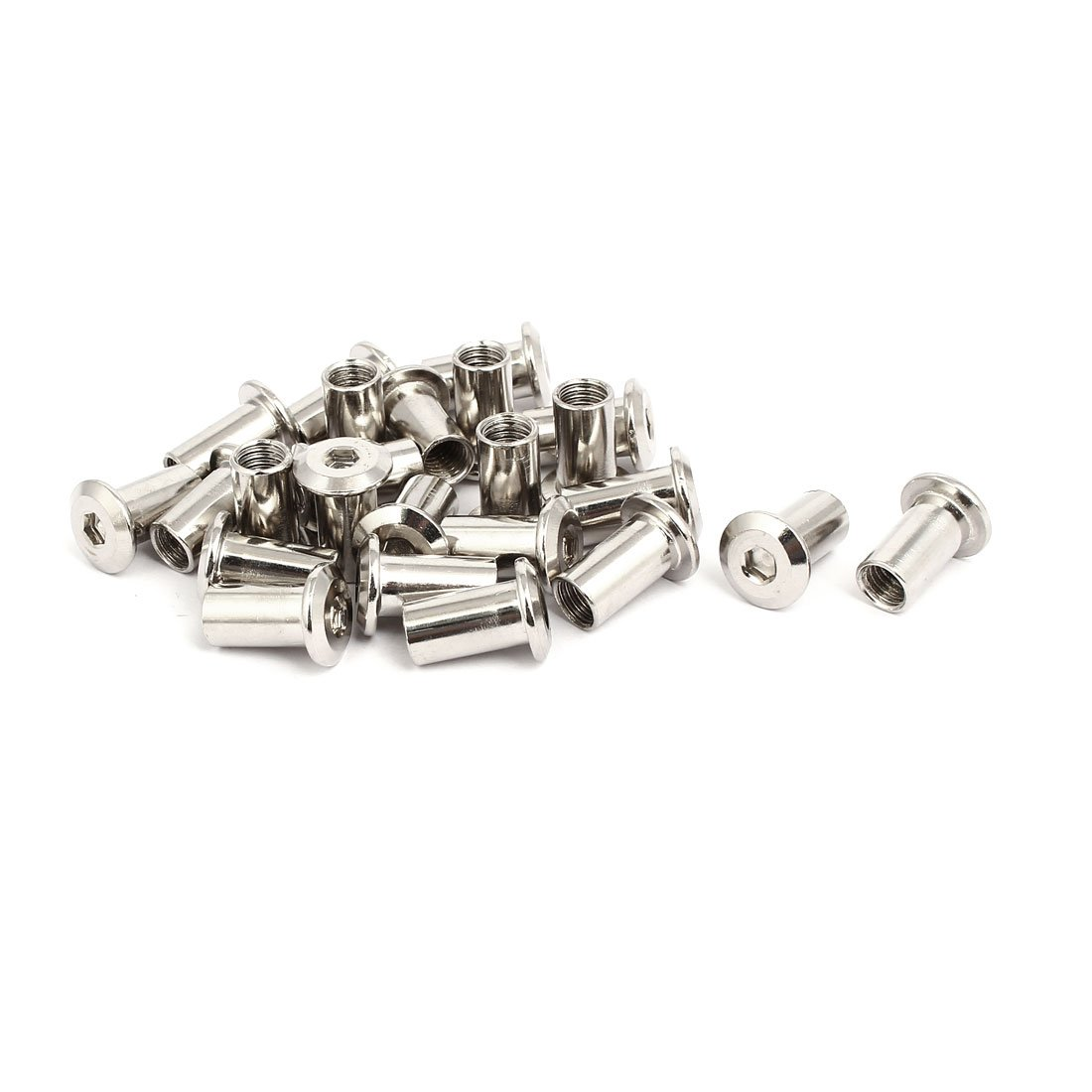 uxcell M8x18mm Female Thread Hex Socket Head Barrel Nut Furniture Fittings 24pcs