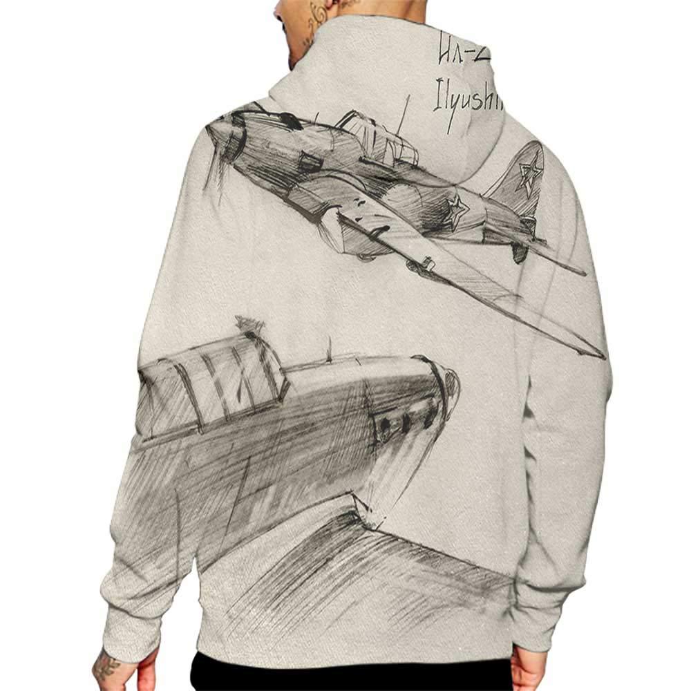 Unisex 3D Novelty Hoodies Airplane,Hand Drawn Series Soviet Military Enginery Jets Flights World War Aviation Sketch,Black Ecru Sweatshirts for Girls