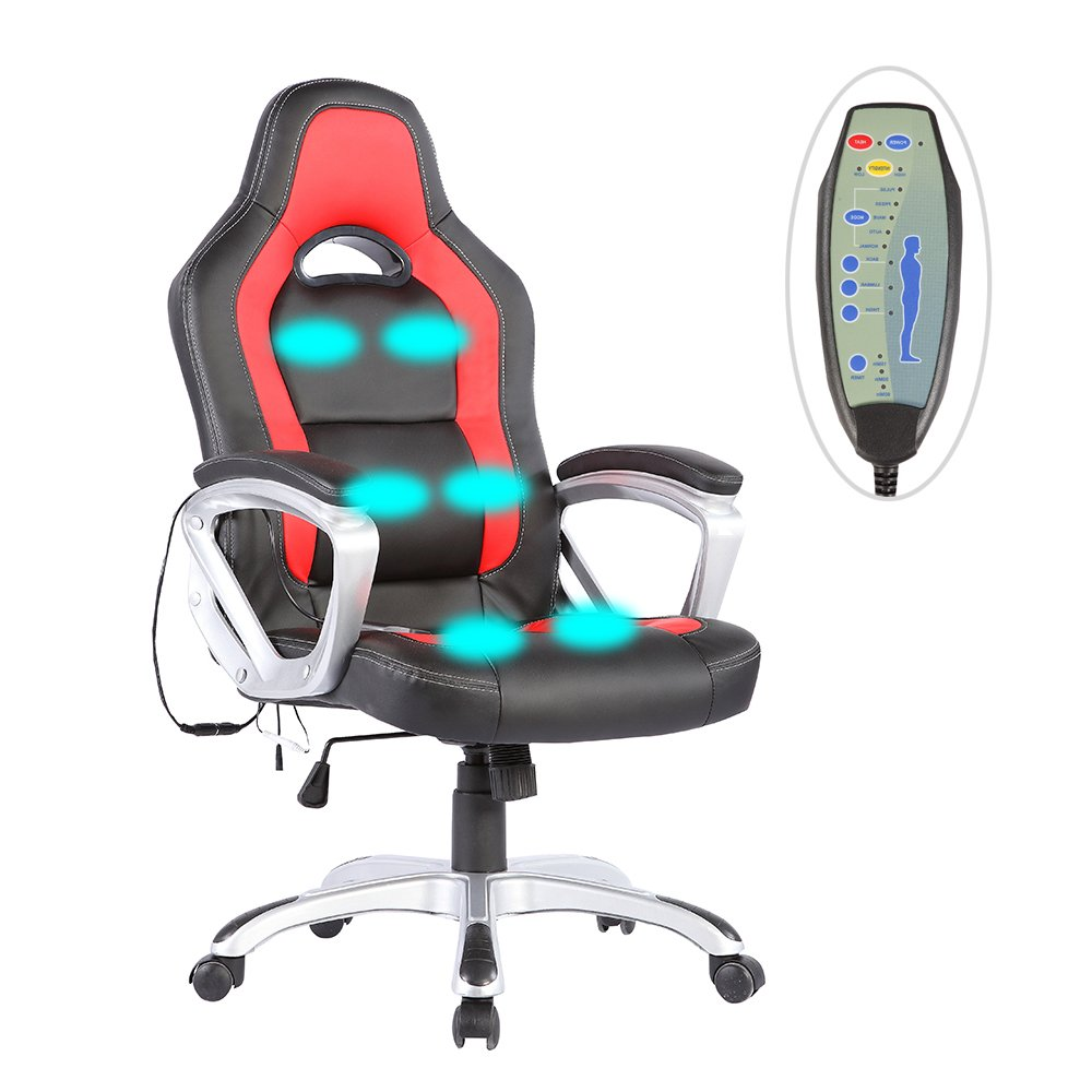 Mecor Office Massage Chair Leather Executive Heated Vibrating Computer Chair,Black&Red