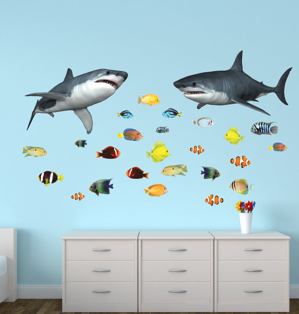 Amazon Shark Wall Decals With Tropical Fish Stickers Home