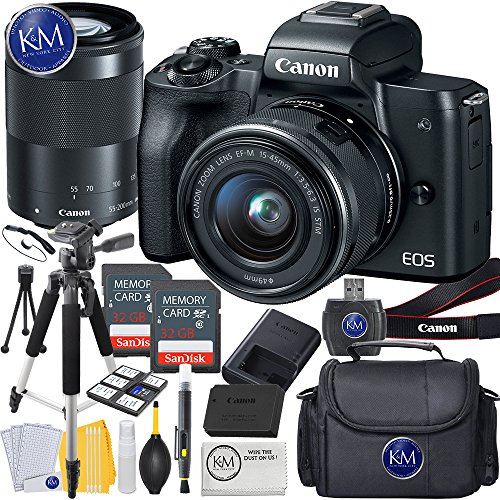 Canon EOS M50 Mirrorless Camera w/15-45mm and 55-200mm (Black) + 2 x 32GB + K&M Deluxe Photo Bundle