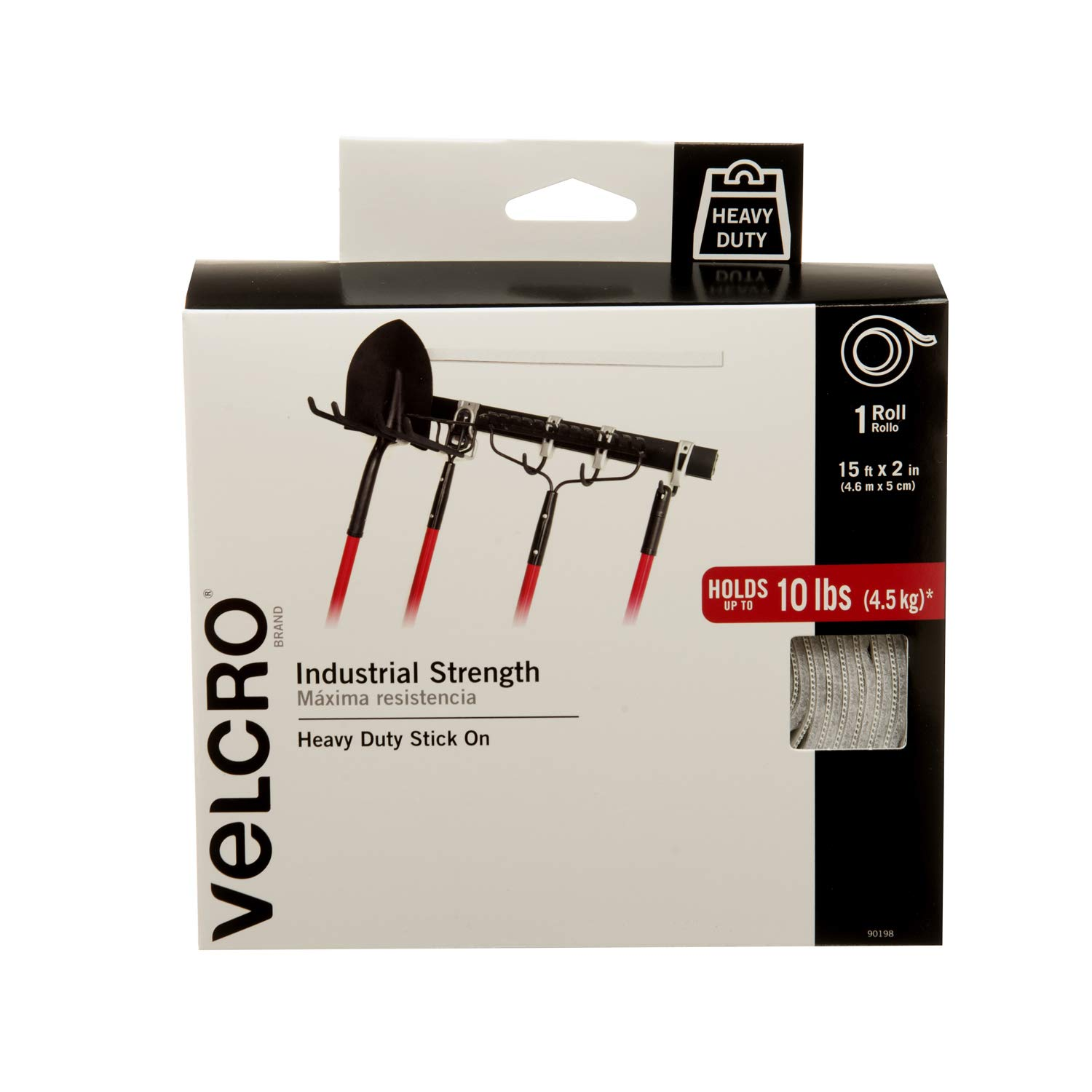 VELCRO Brand Industrial Strength Fasteners | Stick-On Adhesive | Professional Grade Heavy Duty Strength Holds up to 10 lbs on Smooth Surfaces | Indoor Outdoor Use | 15ft x 2in Tape, White by VELCRO Brand
