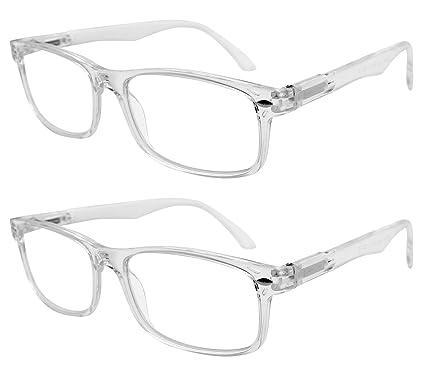 dd43841dc22 TBOC Gafas de Lectura Presbicia Vista Cansada - (Pack 2 Unidades) Graduadas  +1.50 Dioptrías Montura de Pasta Transparente ...
